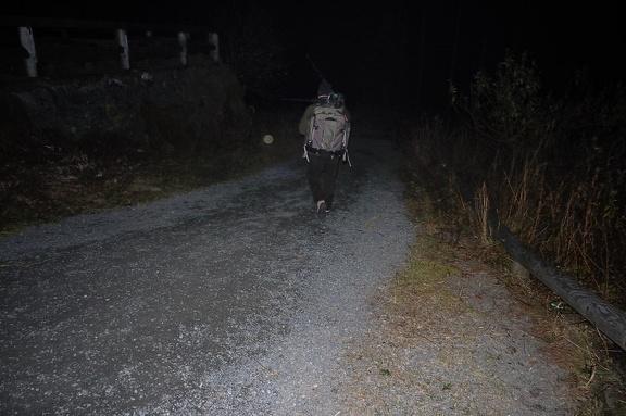 Abwärts bei Nacht über den Winterweg
